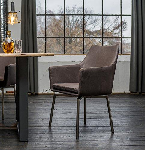 KAWOLA Stuhl Cali Sessel Stoff Esszimmerstuhl dunkelgrau Füße Edelstahl