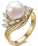 Gnzoe Schmuck Damen Ringe Edelstahl Perlenring Vergoldet Damenringe Charme Verlobungsringe Gold 3CM Gr.57 (18.1) mit Perle Zirkonia