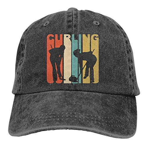 Retro 1970's Style Curlers Silhouette Curling Unisex Adult Cap Adjustable Cowboys Hats Baseball Cap Fun Casquette Cap Black (1970 Mens Hair)