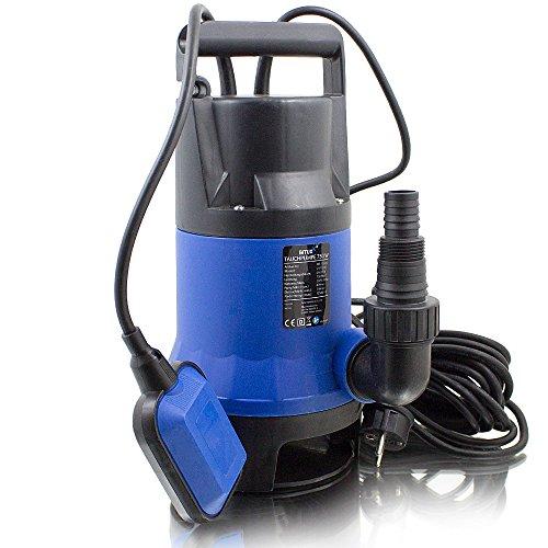 BITUXX® 750W Tauchpumpe Schmutzwasserpumpe für Brunnen Zisterne Bewässern Garten Regentonne Schmutzwasser Bis 12500 Liter/h 1,0-1,5 Zoll Förderhöhe 7 Meter