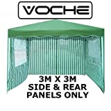 Voche® Pack of 3 Side Panels for 3m x 3m Garden Gazebo - Green & White Stripe with Windows