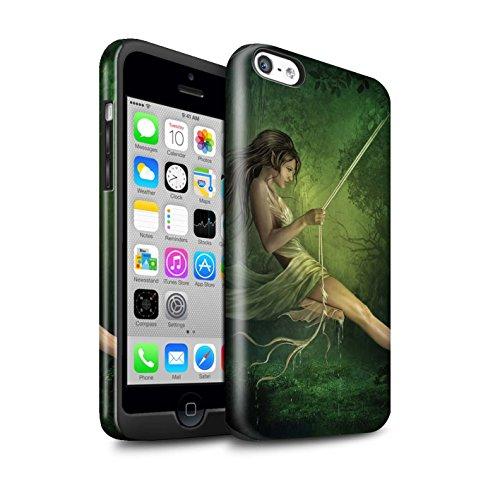 Officiel Elena Dudina Coque / Brillant Robuste Antichoc Etui pour Apple iPhone 5C / Balançoire Jardin Design / Un avec la Nature Collection Balançoire Étang