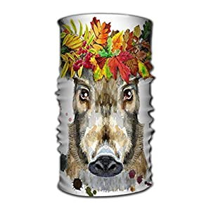 Jiuyiqit3 Stirnband Multi Function Magic Scarf Constructed with High Performance Rotating Illusion Tube Mask Cute Piggy wild Boar Watercolor Brown Boar Wreath Leaves Watercolor Portrait wild