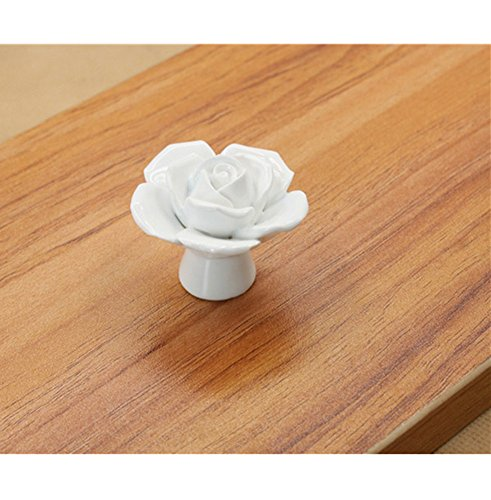 Distinct® Vintage Flor Rosa cerámica perilla del cajón del gabinete armario de la cocina Manija (blanco)