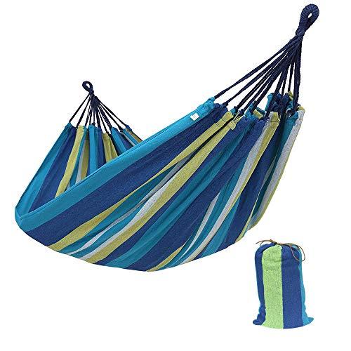 Brasilianische Single (Hängematte Outdoor Baumwolle Mehrpersonen doppelte Breite 1/2 Person brasilianische Hängematte Für Draußen Drinnen Garten Reisen Camping Hängematte (Single/260 * 80/Blue))