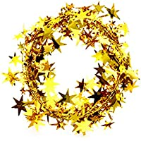 QHGstore Xmas Tree Hanging Stella Pino Ghirlanda di Natale Ornamento 5 colori 5m oro