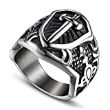 YBMEN Gioielli Anelli dell'Acciaio Inossidabile per Gli Uomini celtica Scudo e la Spada Anello Hip Hop Ring per Gli Uomini