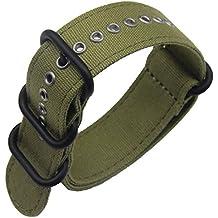 24mm ejército militar relojes de lujo exótico lona de nylon verde del estilo de la NATO correas bandas de reemplazo para los hombres