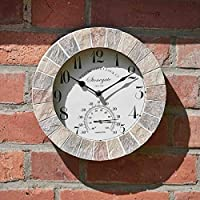 HomeZone® Large Vintage Retro Style Home/Garden Indoor/Outdoor Wall Clock Decorative Fence Ornament Thermometer Barometer Mountable Weatherproof Weather Station Thermometer Hygrometer