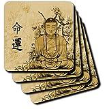 3dRose CST 152985_ 4A braun gebeizt Buddha mit Blumen und Oriental Schreiben Bedeutung Schicksal und luck-ceramic Fliesen Untersetzer, Set von 8