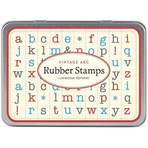 Cavallini Conjunto de mini sellos de goma madera alfabeto minúscula x 30