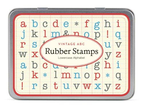 Cavallini Mini Kleinbuchstaben Alphabet 30sortiert Holz Gummi Stempel verpackt in einer Dose