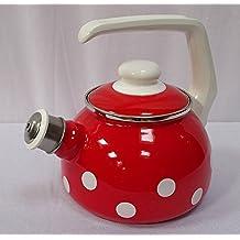 Münder Emaille - Wasserkessel, Teekessel, Pfeifkessel - 1,7 Liter - Emaille - Rot mit weißen Punkten - nostalgisch