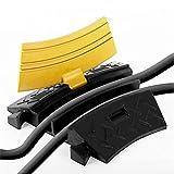 Fronstage Winkel-Kabelbrücke gebogene Kabel-Streckenführung Boden Kabelschacht Kabeltunnel (2 Kanäle, Durchmesser: je 3,5cm, max. Belastbarkeit 2 Tonnen, mit Warnfarbe) gelb-schwarz