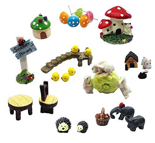 Super44day Miniature Fairy Garden Ornament per Dollhouse Decor Kit, vegetali