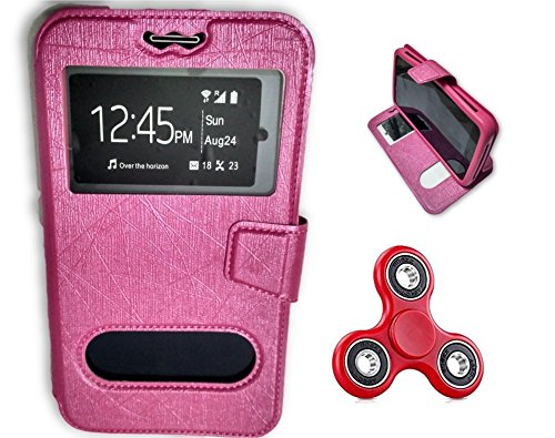 BKDT Marketing Leather finish Flip Cover Case Stand Diary Style for Samsung Galaxy S4 I9295 Active with Dislay Window and Stand - Pink with Fidget Spinner  available at amazon for Rs.519