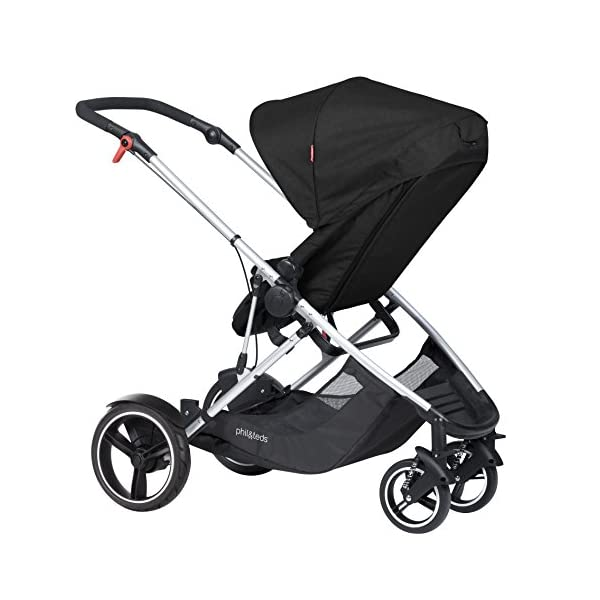 phil&teds Voyager Buggy Pushchair, Black phil&teds 4-in-1 modular seat! the most adaptable seat yet with four modes, parent facing, forward facing, lie Revolutionary stand fold with 2 seats on. Adjustable handlebar with hand-mounted brake Double kit easily converts to lie flat mode as well. 2