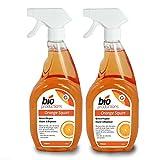 2profesional 750ml botellas de limpiador y desengrasante naranja para eliminar la suciedad, manchas, grasa de todo tipo de superficies–piel, granito, coches, alfombras, azulejos, para horno y barbacoa de 1.5L–viene con TCH anti-bacterial pluma.