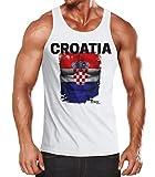 MoonWorks EM Tanktop Herren Fußball Kroatien Croatia Flagge Fanshirt Waschbrettbauch Muskelshirt Weiß XL