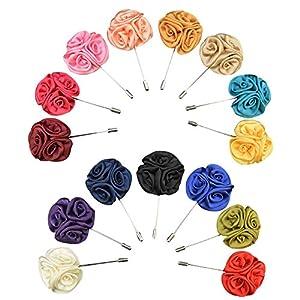 Soleebee YM009 Ansteckblumen Gemischt zufällig Herren Handgefertigt Revers Pin Blume Set im Knopfloch Schläger Revers Krawatte Brosche Seide Blume Boutonniere für Anzug Hochzeit Partei