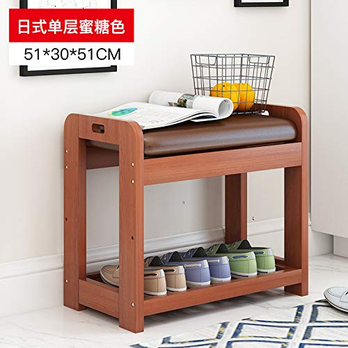 seeksungm Chair, Classical Solid Wood Multifunctional Shoe Bench, Wooden Environmentally Friendly and easy to clean Storage Shoe Chair, Home Shoe rack Sofa Stool, B 50 cm Honey