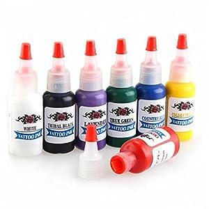 fitTek® FACILLA Kit Tinta de Tatuaje Tatuar Tattoo Ink 7 Colores 15ML Profesional de fitTek