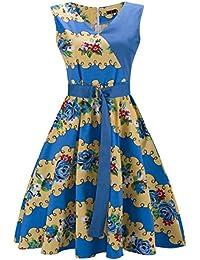 ZAMME Vestidos de verano florales retro de la década de 1950 de los años 60 florales