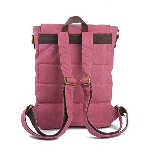 Herren-Leinwand Rucksack Schule Wandern Outdoor Casual Fashion Unisex Rucksack Classic Rucksäcke Rosa