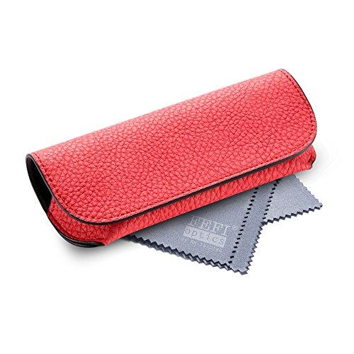 FEFI Halbhartes Brillenetui in schönen Pastellfarben - Leder-Look - mit Magnetverschluss - inkl. hochwertigem Brillenputztuch/Mikrofasertuch (Rot)