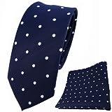 TigerTie schmale Designer Krawatte + Einstecktuch blau dunkelblau royal weiß gepunktet