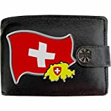 Schweiz Flagge KLASSEK Herren Geldbörse Portemonnaie Brieftasche Schweizer Wappen aus echtem Leder schwarz Schweiz Geschenk Präsent Mit Metallbox