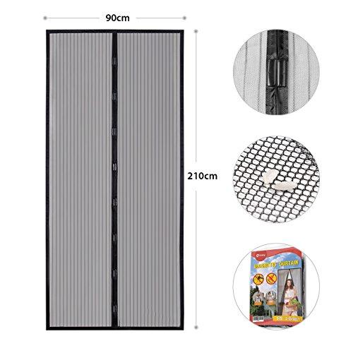 Sekey - tenda magnetica per porte in legno, ferro e alluminio, montaggio su un lato e chiusura facile, protezione dagli insetti, 210 x 90 cm, colore: nero