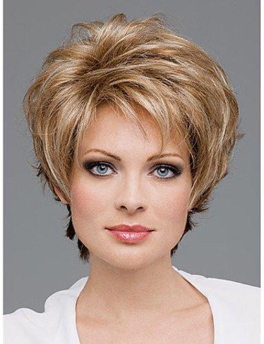 YLE capless kurzen hochwertigen synthetischen goldenen blonden lockigen Haar Perücke Seite bang ()