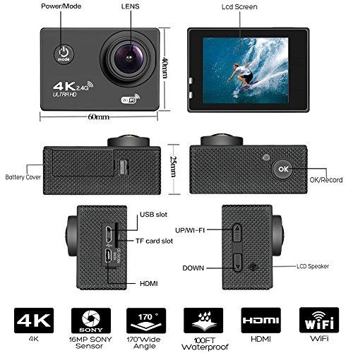 BUIEJDOG Action Kamera WIFI Action Cam 4K Action Camera 16MP Ultra Full HD 170 ° Weitwinkel 30 Meter Unterwasserkamera Wasserdicht Sports Kamera mit 2 1050mAh Akkus und 18pcs Zubehör Kits