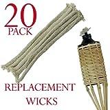 Intrecciato cotone stoppini di ricambio per torce in bambù, confezione da 20