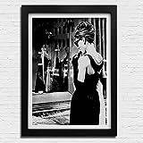 Box Prints Audrey Hepburn Tiffanys Retro-Vintage-Stil Poster Kunst Schwarz Weiß gerahmte Drucken Bild Klein groß
