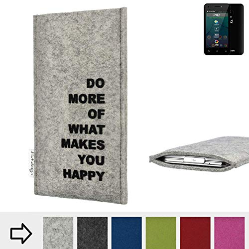 flat.design Handy Hülle FARO für Allview P42 Made in Germany Handytasche Filz Tasche Case Spruch Motto Mantra fair