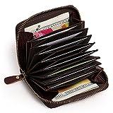 Aphison Fein Leder Kreditkartenetui Geldbörse, RFID Schutz Scheckkarten Echt Leder Ziehharmonika-Kreditkartenetui Geldbörse Scheckkarten Kartenetui Visitenkartenetui Damen Herren (Braun)
