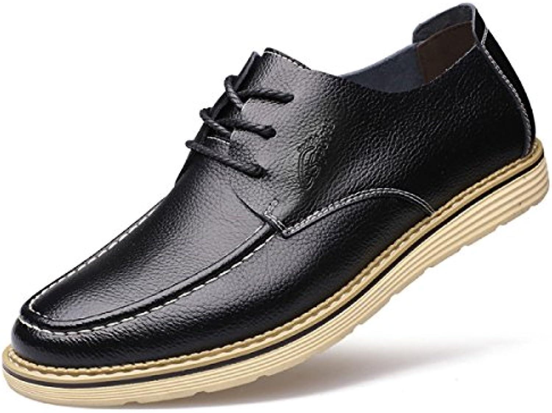 GRRONG Zapatos De Cuero De Los Hombres Del Ocio Del Cuero Genuino Negro Marrón
