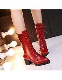 &ZHOU Botas otoño y del invierno botas cortas mujeres adultas 'Martin botas botas Knight A4-3 , red , 41