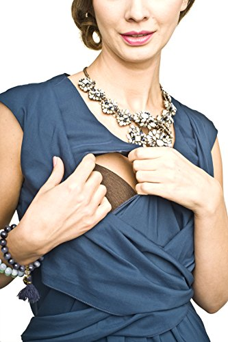 2in1 Elegantes und bequemes Umstandskleid/Stillkleid, Modell: Zurina, indygo - 3