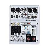 ammoon Mezclador de Audio 8 Canales Tarjeta de Sonido Digital Consola de Mezcla Soporte de Energía Phantom 48V Incorporado Desarrollado por 5V Power Bank con Adaptador de Corriente Cables USB (6 canales)