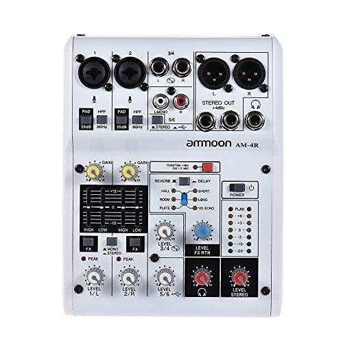 ammoon 6-Kanal-Soundkarte Digitaler Audio-Mixer Mischpult Eingebauter 48V Phantomspeisung Powered by 5V Power Bank mit Netzadapter USB-Kabel für die Aufnahme von DJ Network Live Broadcast Karaoke (6kanal) (8 Kanal Power Mixer)
