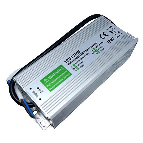 10A 120Watt DC12V AC 220–250V Input Netzteil Wasserdicht IP67LED-Treiber in Aluminium Legierung Gehäuse geeignet für LED Streifen Ligting, LED-Modul und Outdoor DC12V (120Watt IP67)