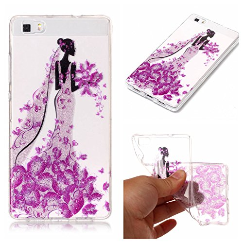 Ecoway Huawei P8 Lite Case Cover, TPU Clear Soft Silicone Housse en silicone Housse de protection Housse pour téléphone portable pour Huawei P8 Lite - Princesse