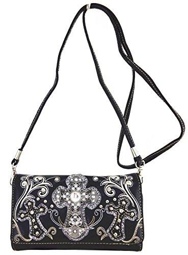 Blancho Biancheria da letto delle donne [modello classico] borsa di cuoio elegante di modo Tote Bag Black Wallet-Nero