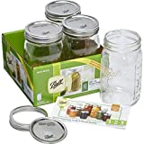 BALL MASON JARS Lot de 4 bocaux à Ouverture Large 945 ML