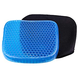 AOOPOO Gel Seat Cushion Breathable Pain Relief Seat Cushion with Non-Slip Cover Honeycomb Designed Soft Gel Pad Cushion for Office Car Home Chairs (M/37 * 34.5 * 5CM)