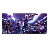 MAOYU League of Legends LOL Gaming Mauspad Out of The Thorns Akali KDA weibliche Gruppe, übergroße dicken Naht, 900 x 400 x 3 mm Tischmatte Tastatur Mauspad