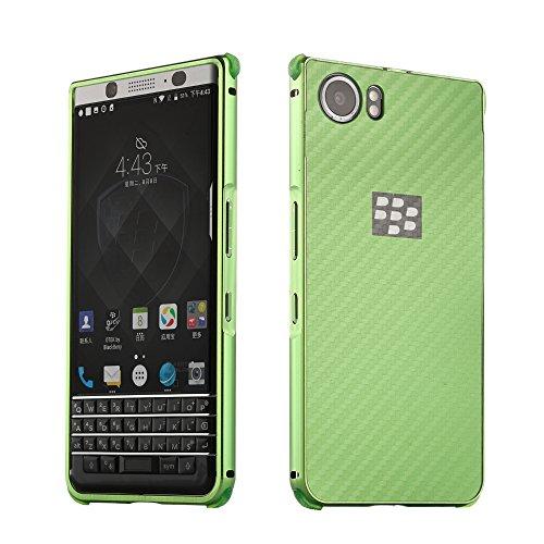 UKDANDANWEI BlackBerry Keyone Hülle,Ultra Dünn Carbon-Faser Metall Zurück Case Cover mit Hard Bumper Schutz[Kratzfeste Stoßdämpfende] Überzug Aluminium Handy Tasche Schale für BlackBerry Keyone - Grün -
